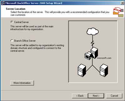 Figure 1. You can select Central Server or Branch Office Server on the Server Location page, allowing you to define the role for the BackOffice 2000 Server machine. If you select the branch office option, you can ship the server machine to the branch office after setup and then make the actual network connection over the organization's WAN.