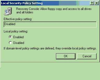 Local Security Policy Setting dialog box