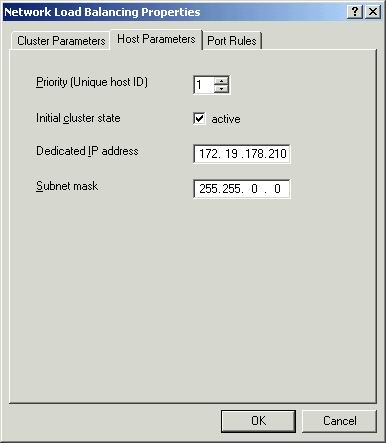 Host Parameters tab