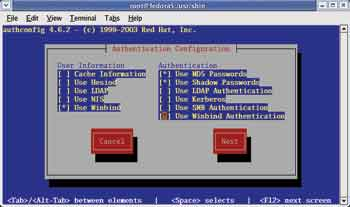 Figure 1. A Fedora authconfig utility showing the User Information screen.