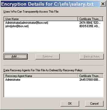 Figure 1. The Details of the encrypted file indicates which users have access.