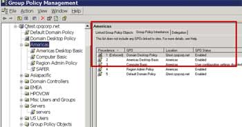 Figure 1. The Group Policy Management Console, showing inheritance for the Americas Organizational Unit.
