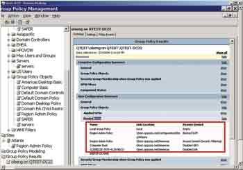 Figure 3. The report generated from running Gpresult for a fictional user.  Displayed are the GPOs the user was denied, along with an explanation of why.