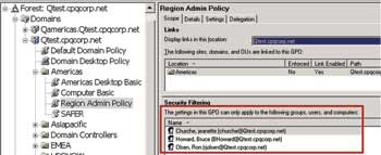Figure 6. A close look at the Security Filtering section of the Region Admin group  policy shows which users the policy will be applied to.