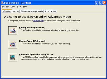 Backup Utility Advanced Mode