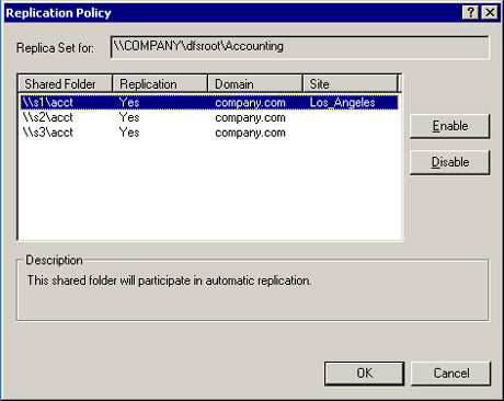 Replication policy settings