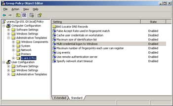 Figure 2. The Group Policy Object Editor can fine-tune biometric configuration.