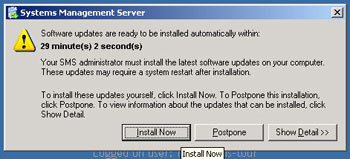 Figure 3. SMS 2003 can defer client patch installations to keep them in line with IT policies.
