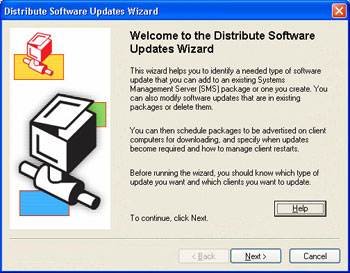 Figure 1. Patching is integrated into SMS 2003 and is handled through the Distribute Software Updates Wizard.