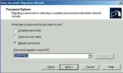 Password migration options