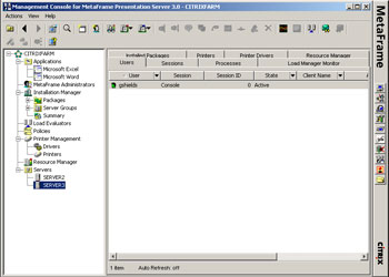 Figure 1. The main Citrix management console.