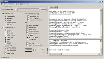 Figure 1. FRSDiag main window showing options and sample output.