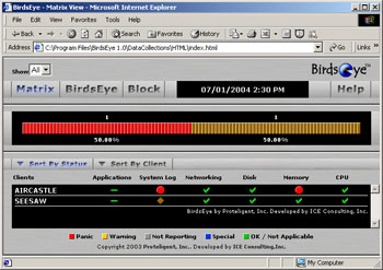 Figure 2. BirdsEye tracks server status with a drill-down Web interface.