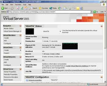 Figure 1. HTML-based administration page for Virtual Server 2005.