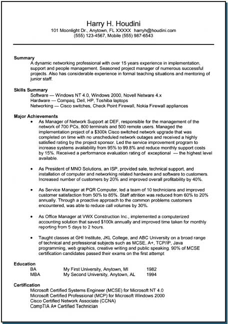 One-page resume, after.