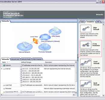 Figure 1. ISA Server 2004 provides five network templates.