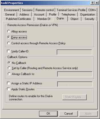 Figure 1. The dial-in tab is used to configure remote access permissions.