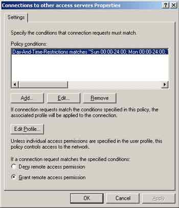 Figure 2. Policy conditions window.