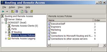 Figure 3. A remote access server with multiple remote access policies installed.